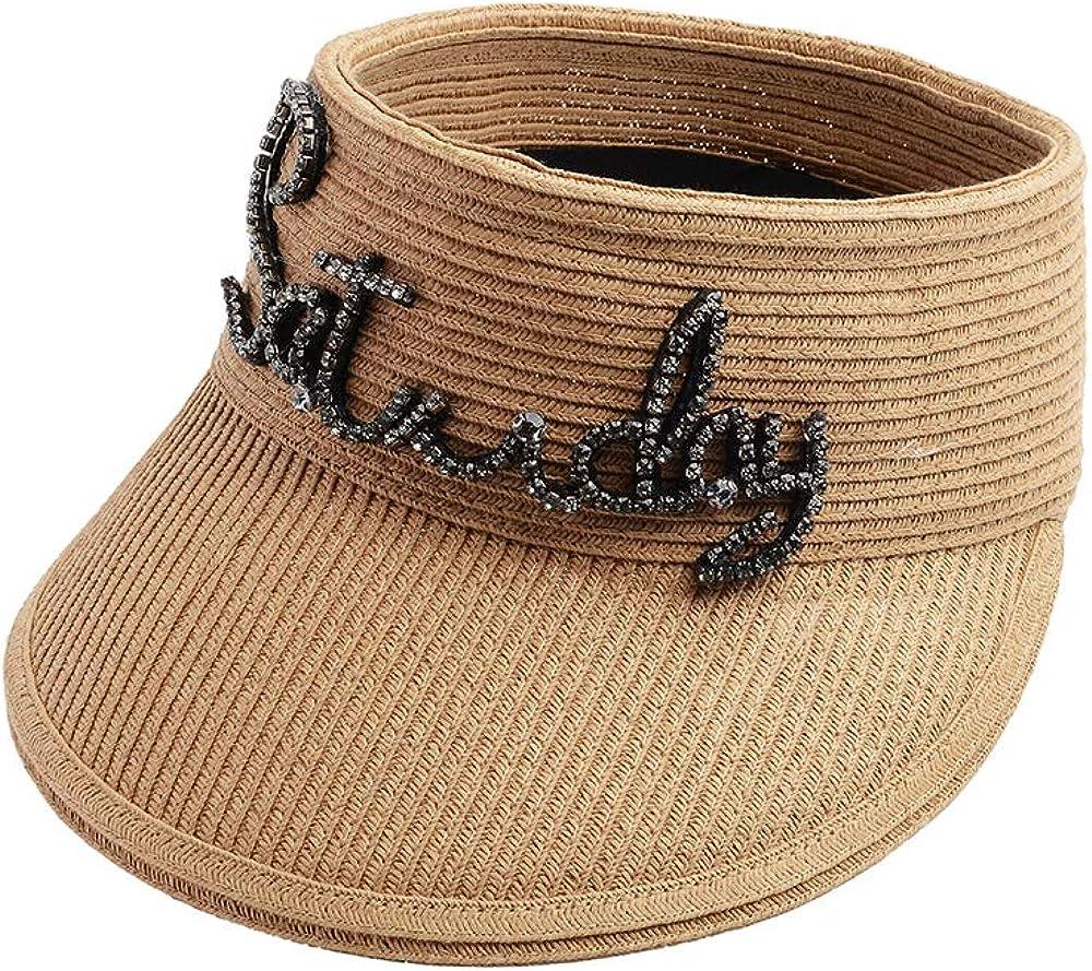 CHIMERA Women's Visors Trendy Rhinestone Letter Empty Top Paper Straw Hat Summer UV Protection Beach Cap Khaki