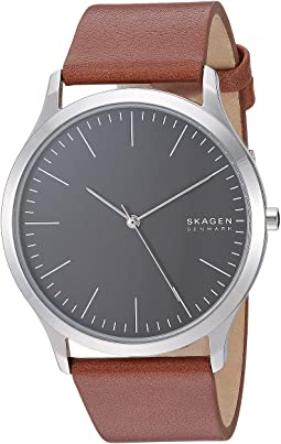 Silver/Grey/Cognac Leather Stainless Steel