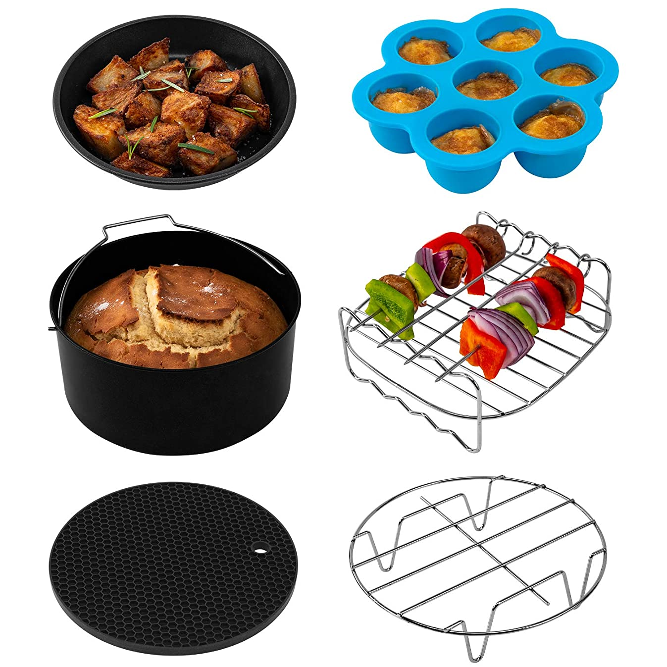 COSORI Air Fryer Accessories(C137-6AC), Set of 6 Fit all 3.7, 4.2, 5.3QT Air Fryer,FDA Compliant, BPA Free, Dishwasher Safe, Nonstick Coating, 2-Year Warranty