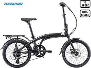 KESPOR Venture Folding Bike Commuter, Rear Rack, Folding 16 Speed Bike City Aluminum, Disc Brake, 20-Inch Wheels