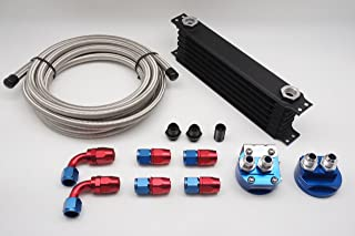 Autobahn88 Universal Oil Cooler Kit Includes: 10 Rows Oil Cooler Tank + Oil Cooler Relocation Adapter + 10 Feet (3m) SS Braided Hose + Hose End -AN10 x6