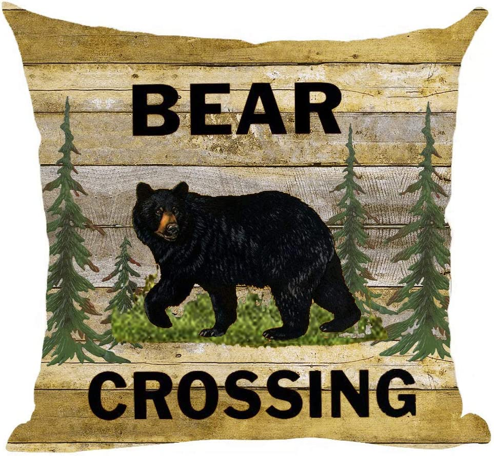 ramirar Black Bear Crossing Green Forest Trees Field Retro Brown Wood Background Autumn Decorative Throw Pillow Cover Case Cushion Home Living Room Bed Sofa Car Cotton Linen Square 18 x 18 Inches