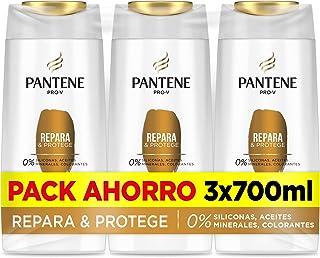 Pantene Pro-V Repara y Protege Champú sin Colorantes Pelo Seco y Dañado - Pack Ahorro 3 x 700 ml 0% siliconas 0% aceite...