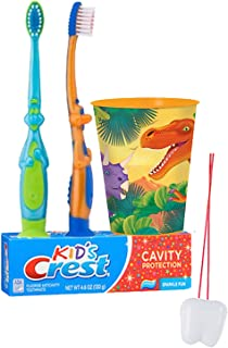 """Dinosaurs Inspired 4pc. Bright Smile Oral Hygiene Set! Dino Manual Toothbrush, Crest Kids Sparkle Toothpaste & Mouthwash Rise Cup! Plus Bonus """"Remember to Brush"""" Visual Aid!"""