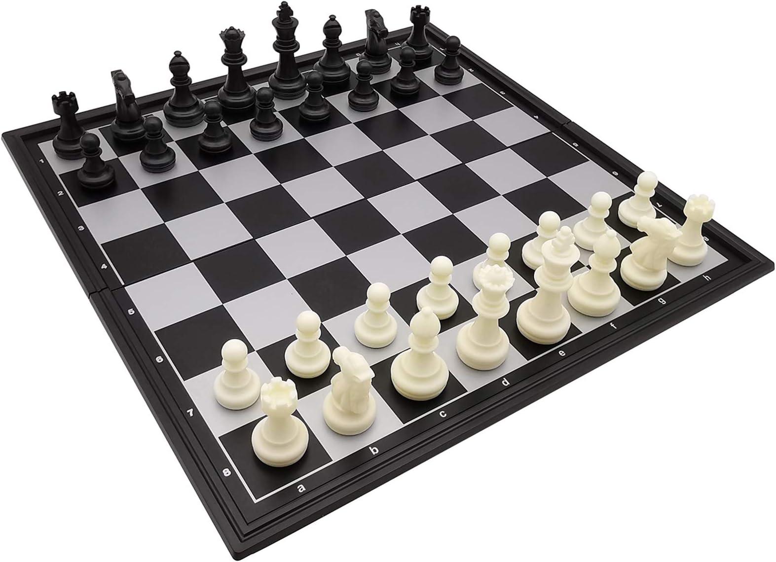 Children/'s Chess Magnetic Folding Plastic Chess Family Game Chessboard Set