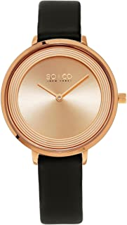 So&Co New York Madison 5204L Women's Rose Dial Leather Band Watch - 5204L.5, Analog Display, Japanese Quartz Movement
