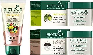 Biotique Bio White Advanced Fairness Face Wash + Bio Coconut Whitening And Brightening Cream For All Skin Types + Biotique...