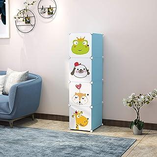 Keshav International Kid's Wardrobe Cabinet 4 Door Storage Organizer Almirah Rack Shelf for Clothes Living Room Bedroom Yellow Colour (Blue)