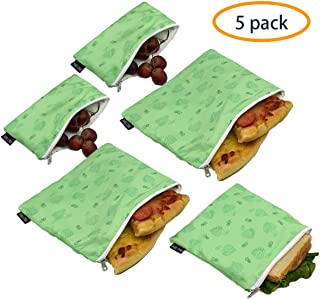 Reusable Sandwich Bags Snack Bags - Set of 5 Pack, Dual Layer Lunch Bags with Zipper, Dishwasher Safe, Eco Friendly Food Wraps, BPA-Free. (Leaf)