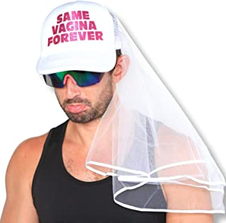 Sterling James Co. Bachelor Party Hat and Veil - Bachelor Party Ideas, Supplies, Gifts, Jokes and Favors (1 Pack - with Veil)