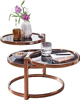 FineBuy Couchtisch SINA Mit 3 Tischplatten Schwarz Kupfer 58 X 43 Cm