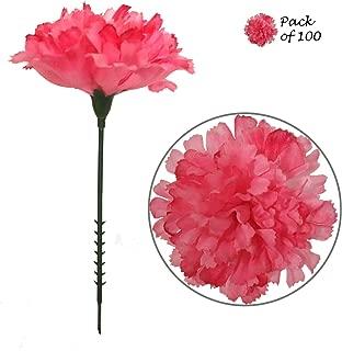 Larksilk Hot Pink Silk Carnation Picks, Artificial Flowers for Weddings, Decorations, DIY Decor, 100 Count Bulk, 3.5