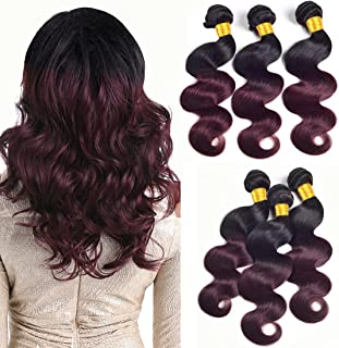 DAIMER Ombre Hair 3 Bundles Body Wave 14 16 18 Inch Black To Wine Red Bundles Two Tone Human Hair Weave Brazilian Virgin Hair Extensions Remy Sew In Hair 1B/99J