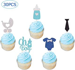 Oh Boy Cupcake Toppers Boy Themed Party Decorations Perfect for Baby Shower Boy's First Birthday 30PCS