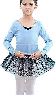 Kidsmian Girls' Classic Thick Dance Wear Leotards Ballet Long Sleeve Wrap Top