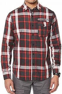 Black Mens Plaid Pocket Button Down Shirt