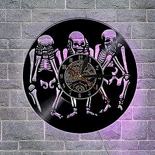 頭蓋骨 ビニールレコード壁掛け時計 リモコンナ複数の照明設定 レトロな郷愁 クリエイティブウォールアートの家の装飾,A