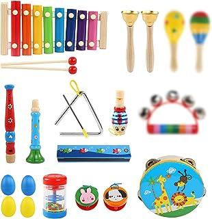 LinStyle Instrument de Musique pour Enfant, 25Pcs Instruments de Musique en Bois Percussion pour Bébé avec Xylophone, Tamb...