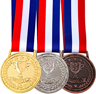 Amlong Plus Gold Silver Bronze Award Medals with Premium Ribbon, Set of 3