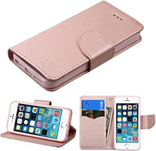 HD Accessory Diary Leather Wallet Case for iPhone SE / 5S / 5 - Rose Gold