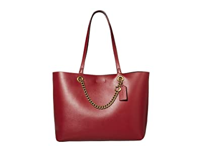 COACH Signature Chain Convertible Tote (Deep Red/Brass) Handbags
