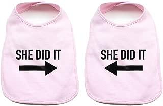He Did It She Did It Arrow Twin Set Unisex Newborn Baby 100% Cotton Bibs