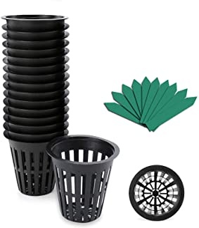 GROWNEER 50-Pack 2 Inch Garden Slotted Mesh Net Cups, Heavy Duty Net Pots with 50 Pcs Plant Labels, Wide Lip Bucket Basket...