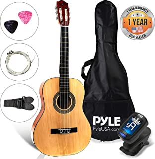 "Beginner 30"" Classical Acoustic Guitar - 6 String Junior Linden Wood Traditional Guitar w/ Wooden Fretboard, Case Bag, Strap, Tuner, Nylon Strings, Picks, Great for Beginner, Children - Pyle PGACLS30"