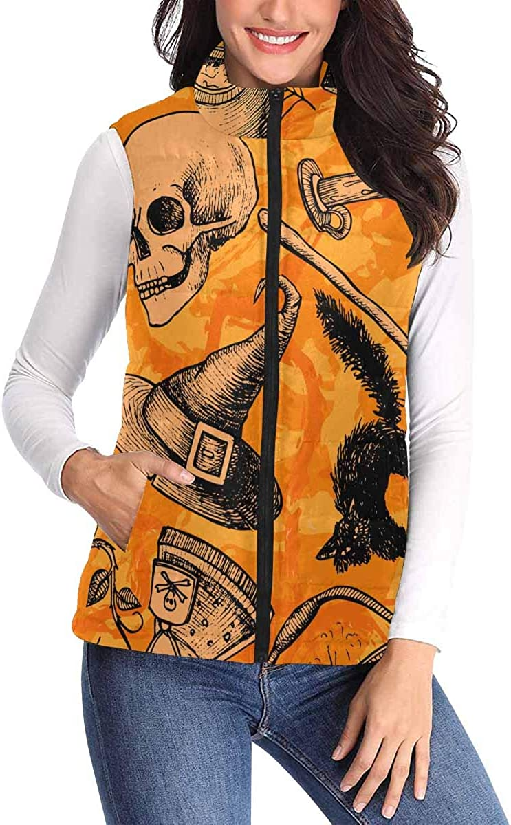 InterestPrint Women's Padded Vest Lightweight Zip Quilted Gilet Outdoor Halloween Pattern Icon