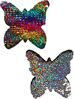 Monarch: Rainbow & Silver Glitter Color Changing Sequin Butterfly Nipple Pasties by Pastease o/s