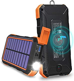 Solar Charger 24000mAh Tranmix 18W USB C Power Bank, QC 3.0 Portable Wireless Charger with 4 Outputs Solar Phone Charger f...