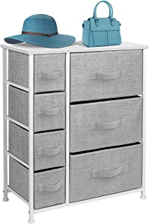 Sorbus Dresser with Drawers - Furniture Storage Tower Unit for Bedroom, Hallway, Closet, Office Organization - Steel Frame, Wood Top, Easy Pull Fabric Bins (7-Drawer, White/Gray)
