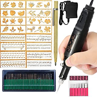 Electric Engraver Pen,Engraving Tool Kit for Metal Glass Stones Ceramic Plastic Wood Jewelry with Polishing Head,Scriber Etcher & Stencils