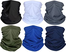 Alonsoo 6 Pcs Neck Gaiter Face Scarf, Fishing Running face Cover Sun UV Protection Reusable Breathable Bandana Scarf Black