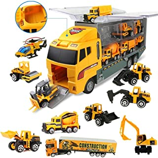 Coolplay 11 in 1 Die-cast Construction Vehicle Mini Engineering Truck Toy Set in Carrier Truck Playset for Boys, Mini Dump...