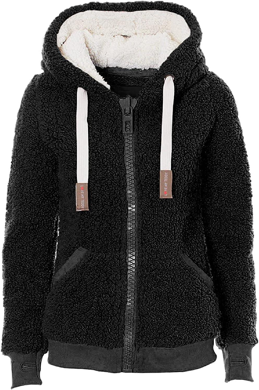 Women's Hoody Sherpa Jacket Women's Casual Winter Warm Soft Teddy Coat Zip Hooded Sweatshirt Jacket Coat