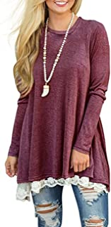 Womens Lace Long Sleeve Tunic Top Blouse Casual Swing T Shirt Dress A Line Dress with Pockets