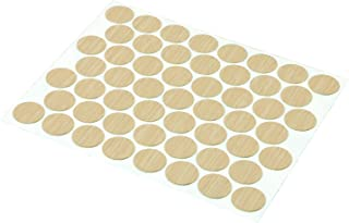 Prime-Line Products KD 16083 Self Adhesive Smooth Plastic Screw Hole Covers (Pack of 53), Maple