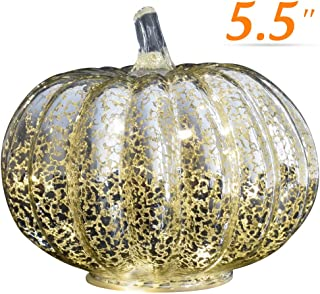 JARVANIA Fall Decor Glass Pumpkins, Halloween Candles LED Fall Decorations, Glass Pumpkins Decorations Made of Mercury, Lanterns Decorative Battery Operated (Medium Silver)