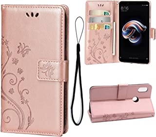 Wallet Case for Xiaomi Redmi Note 5 Pro, 3 Card Holder Embossed Butterfly Flower PU Leather Magnetic Flip Cover for Xiaomi Redmi Note 5 Pro(Rose Gold)