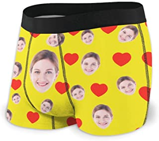 Jinlinjew Slip Boxer Viso Personalizzato, Viso Personalizzato da Fidanzata con Foto Stampate Pantaloncini Divertenti da Uo...