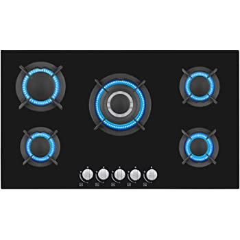Gasland chef GH90BF 36 Built-in Gas Stove Top Tempered Glass LPG Natural Gas Cooktop Gas Stove Top with 5 Sealed Burners Thermocouple Protection /& Easy To Clean ETL Safety Certified Gas Cooktop