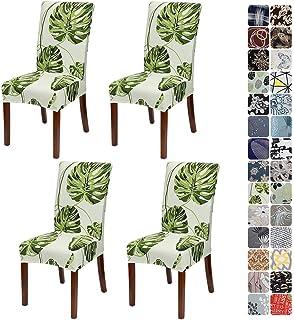 JOTOM Fundas universales elásticas para silla, juego de fundas para sillas modernas, extraíbles, para comedor, fiesta, hotel, restaurante, decoración (hojas verdes, juego de 4)