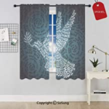 Dove Symbol of Peace Words Over Stop The War Warfare Theme Abstract Art Rod Pocket Sheer Voile Window Curtain Panels for Kids Room,Kitchen,Living Room & Bedroom,2 Panels,Each 42x63 Inch,Black White