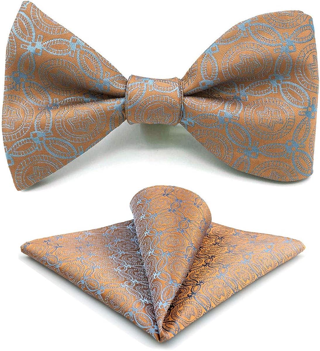 SHLAX&WING Silk Neckties for Men Orange Blue Geometric Patterned Tie Designer