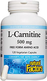 Natural Factors, L-Carnitine 500 mg, Supports Healthy Heart, Liver and Vascular Function and Energy Levels, 120 capsules (...
