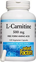 Natural Factors, L-Carnitine 500 mg, Supports Healthy Heart, Liver and Vascular Function and Energy Levels, 120 capsules (120 servings)