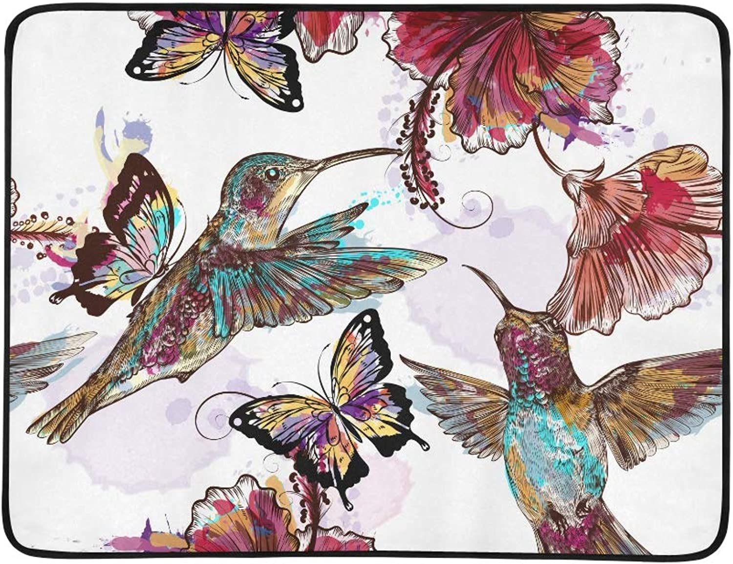 Watercolor Floral Hummingbirds Butterflies and Eng Pattern Portable and Foldable Blanket Mat 60x78 Inch Handy Mat for Camping Picnic Beach Indoor Outdoor Travel