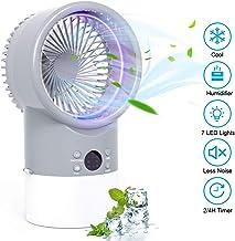 TedGem Aire Acondicionado Pequeño, Aire Acondicionado Portatil Silencio, Mini Air Cooler, 4 en 1 Enfriador de Aire, Ventilador, Humidificador, 7 Luces LED, 3 Velocidades, para el Hogar y la Oficina