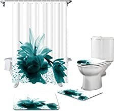 Artsbay Teal Flower Shower Curtain for Women Sets with Non-Slip Rugs Toilet Lid Cover Bath Mat Green Zen Stone Floral Home...